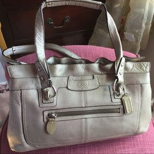 Coach Leather Goldish-Silver Handbag